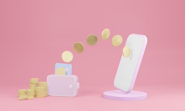 3d render smartphone die munten naar een portemonnee op roze achtergrond stuurt