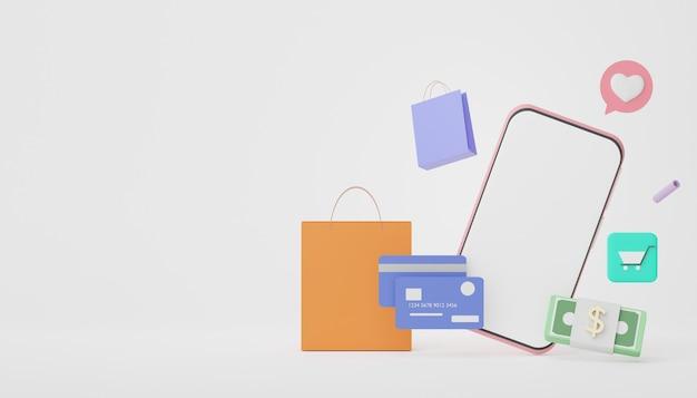 3d render smartphone met creditcards geld concepten financiële planning online winkelen