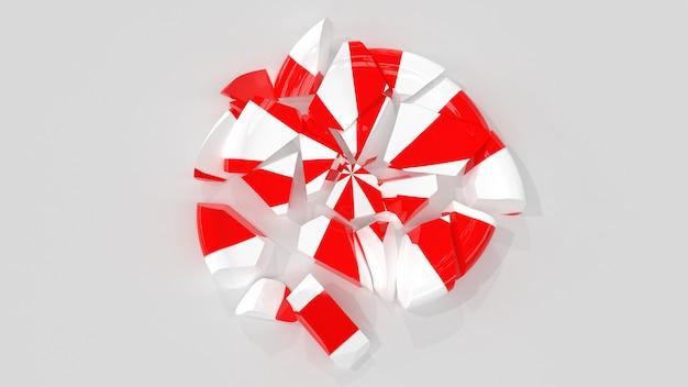 3d render snoep lolly wit rood gebroken