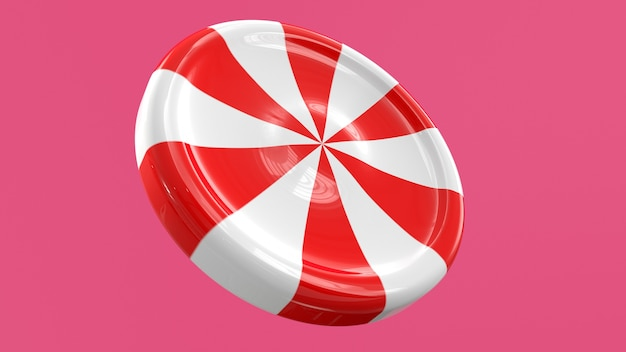 3d render snoep lolly wit rood