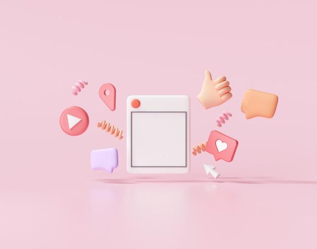 3d render social media met fotolijst, zoals knop en geometrische vormen op roze afbeelding.