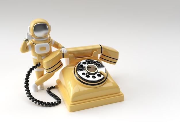 3d render spaceman astronaut die gebaar met oude telefoon 3d illustratieontwerp roept.