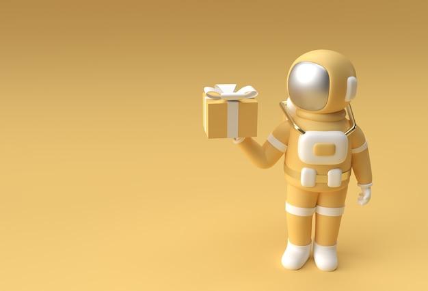 3d render spaceman astronaut hand met giftbox 3d illustratie design.