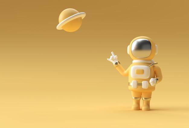 3d render spaceman astronaut hand omhoog rock gebaar 3d illustratie ontwerp.