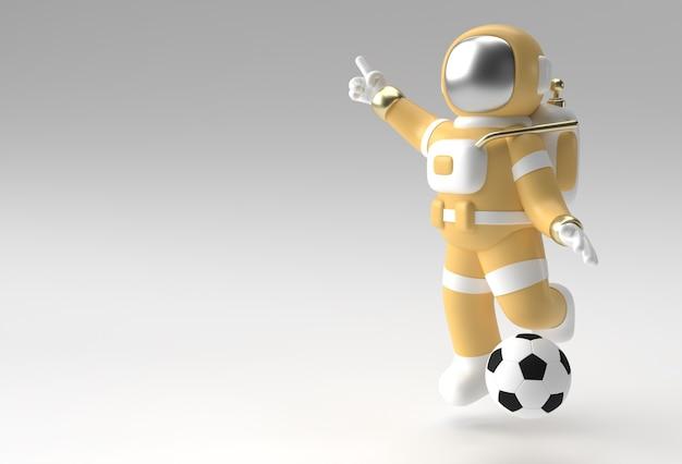 3d render spaceman astronaut hand wijzende vinger gebaar met voetbal 3d illustratie ontwerp.