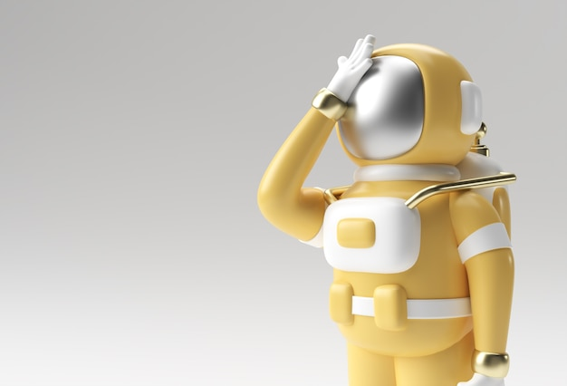 3d render spaceman astronaut hoofdpijn, teleurstelling, vermoeide blanke of schaamte gebaar van 3d illustratie ontwerp.