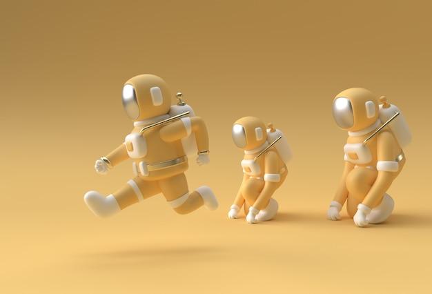 3d render spaceman astronaut running 3d illustratie ontwerp.