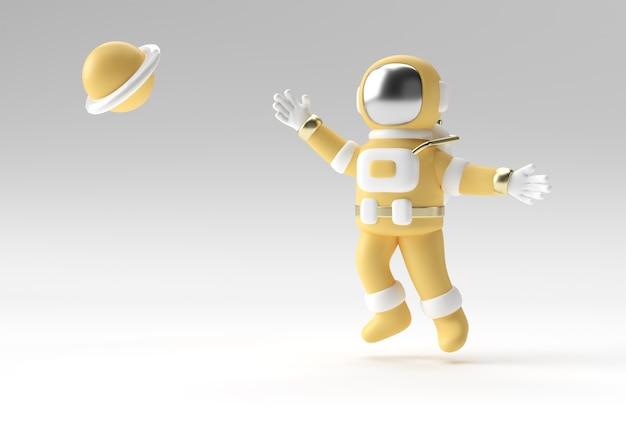 3d render spaceman astronaut springen 3d illustratie ontwerp.