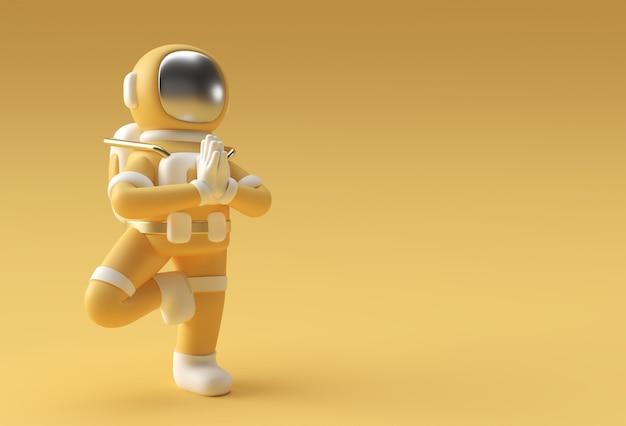 3d render spaceman astronaut staande een dankbare namaste yoga pose 3d illustratie design.