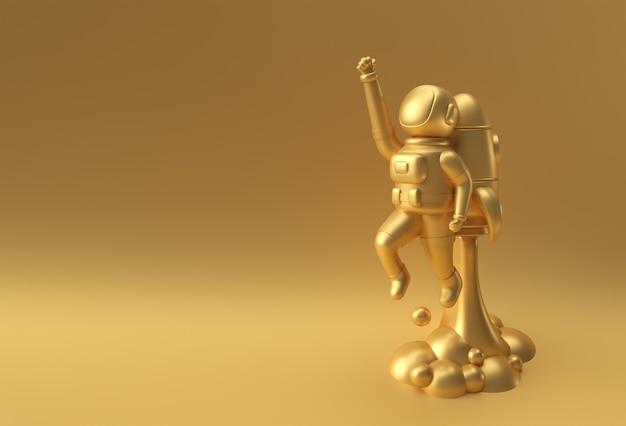 3d render spaceman astronaut vliegen met raket 3d illustratie ontwerp.
