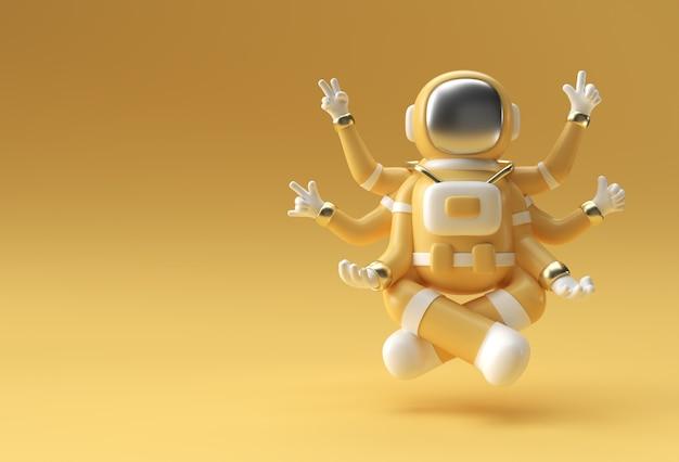 3d render spaceman astronaut yoga gebaren 3d illustratie ontwerp.