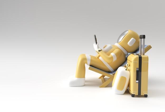 3d render spaceman astronaut zittend op een stoel met behulp van telefoon met reiskoffer 3d illustratie design.