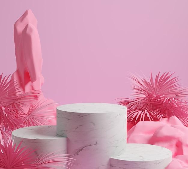 3d render steen en roze achtergrond, roze kleur gemotric met marmeren podium, display of showcase.