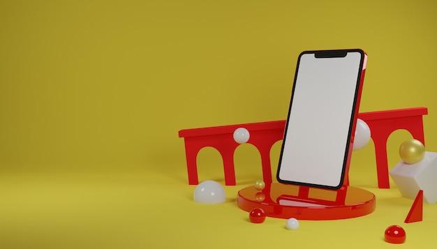 3d render telefoon met leeg scherm met gele achtergrond