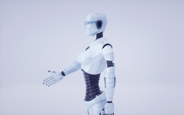 3d render toekomstige kunstmatige intelligentie robot en cyborg