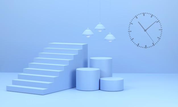 3d render trappen en ronde podia en wandlampen er is een concept van tijd dat vertelt