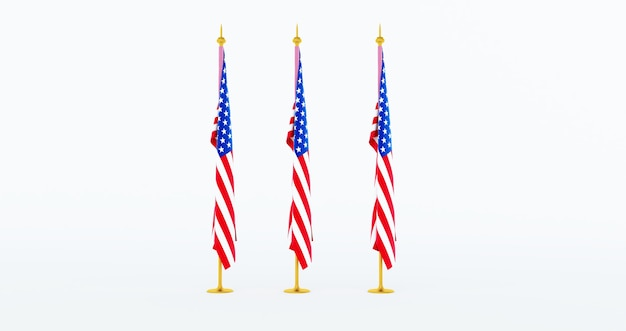 3d render van 3 amerikaanse vlag voor memorial day, 4 juli, independence day.