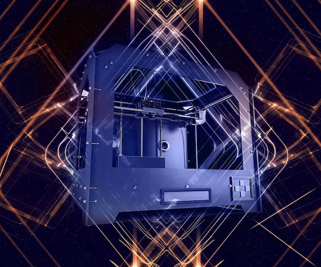 3d-render van 3-dimensionale printer op abstracte achtergrond