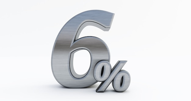 3d render van 6 procent korting, metaal zes procent geïsoleerd op een witte achtergrond.