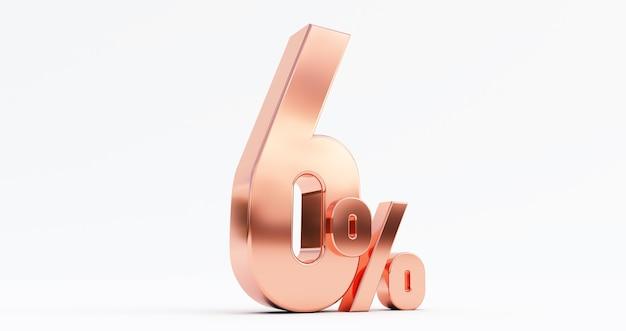 3d render van 6 procent korting op brons zes procent geïsoleerd op een witte achtergrond