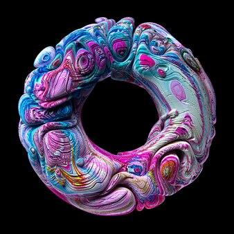 3d render van abstract kunstwerk sculptuur met surrealistische 3d ring torus cirkel of donut in organische curve golvende lijnen in wit beton ruw materiaal geschilderd in blauw paars en geel acryl kleur