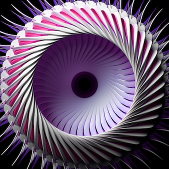 3d render van abstract met surrealistische turbine keramische straalmotor met metallic paarse onderdelen op zwart