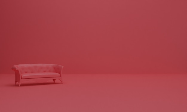 3d render van abstracte achtergrond samenstelling met sofa.