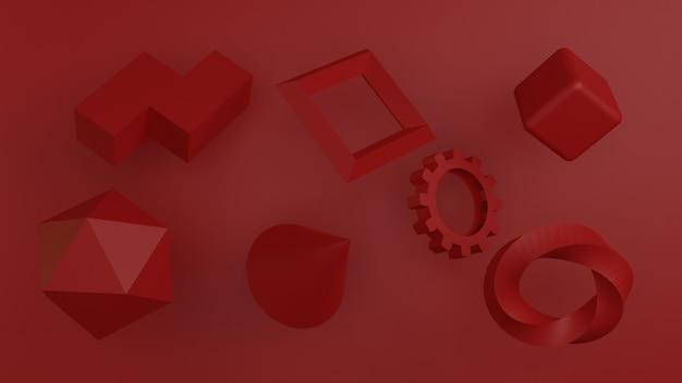 3d render van abstracte achtergrond samenstelling met willekeurige vorm.