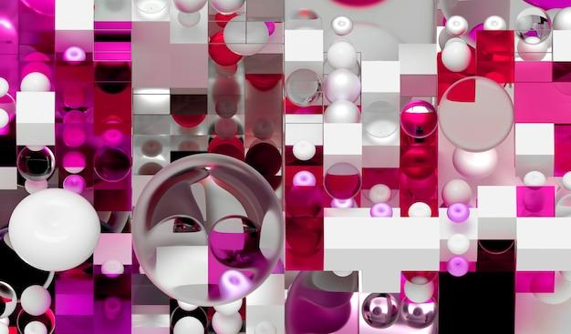 3d render van abstracte achtergrondkunst op basis van kleine en grote meetkundecijfers