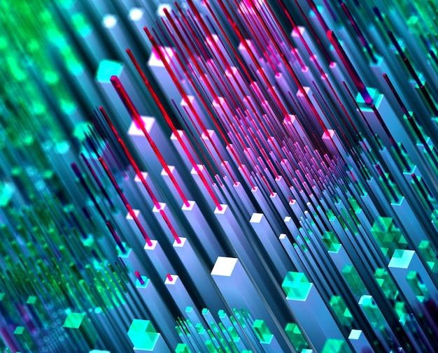 3d render van abstracte kunst 3d-achtergrond van surrealistische nano-silicium magische vallei heuvels op basis van kleine grote dunne en vertelde kubussen dozen pijlers en staven in groen paars blauw en roze kleur in isometrische weergave