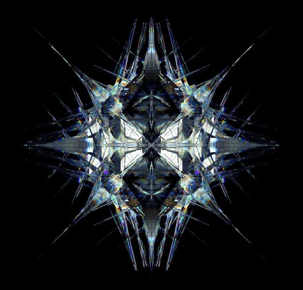 3d render van abstracte kunst met surrealistische 3d cyberster of buitenaardse sneeuwvlok kristalmechanisme diamant
