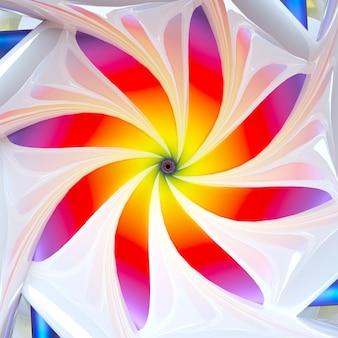 3d render van abstracte kunst met surrealistische hypnotische bloem in spiraalvormige gedraaide vorm