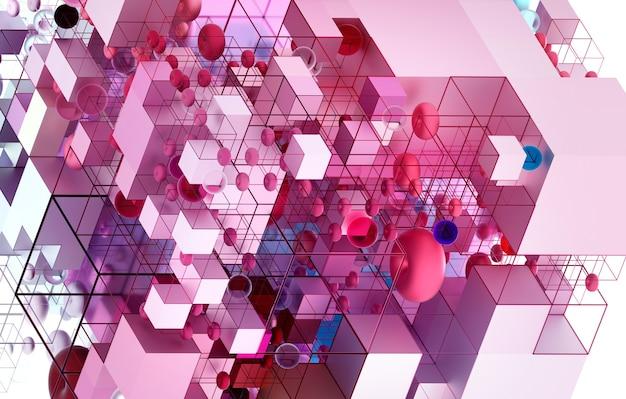 3d render van abstracte kunst puzzelspel constructie in isometrische weergave op basis van geometrie cijfers als kubussen en bollen
