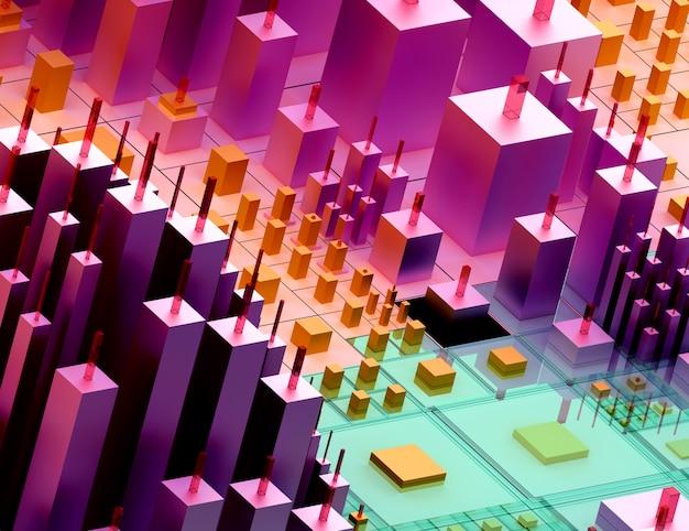 3d render van abstracte kunst van surrealistische 3d-achtergrond op basis van kleine grote en vertelde dozen of blokjes in paars oranje groen