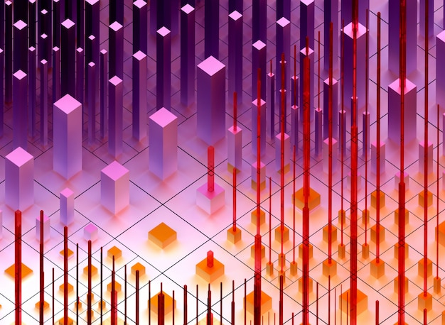 3d render van abstracte kunst van surrealistische 3d-achtergrond op basis van kleine grote en vertelde dozen of kubussen in paarse en oranje kleur