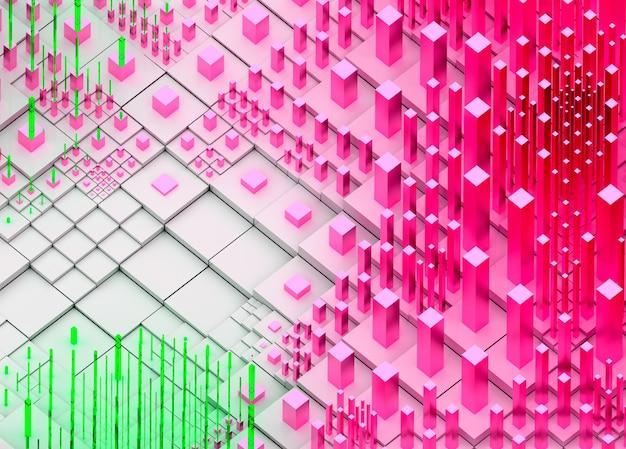 3d render van abstracte kunst verstrooiing topografische 3d landschap achtergrond met surrealistische heuvels of bergen op basis van kubussen dozen of bars