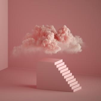 3d render van abstracte roze fantasie achtergrond. wolk zwevend boven het voetstuk met trappen, kubusvormig podium. droom metafoor