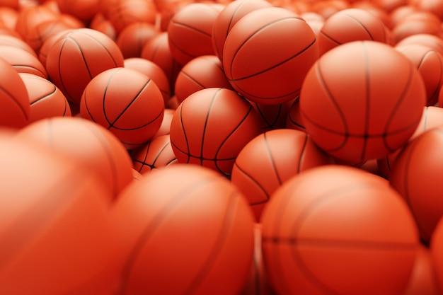 3d render van basketbal achtergrond. veel oranje basketbalballen, zijaanzicht. sportconcept