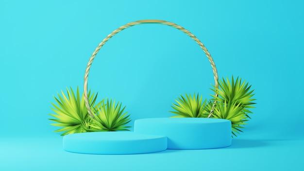 3d render van blauw en goud podium met palmbladeren