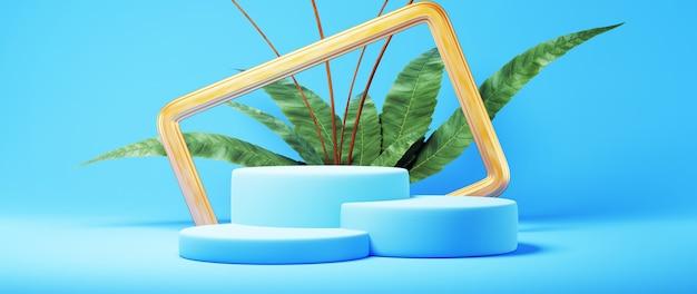3d render van blauw en goud podium met plant