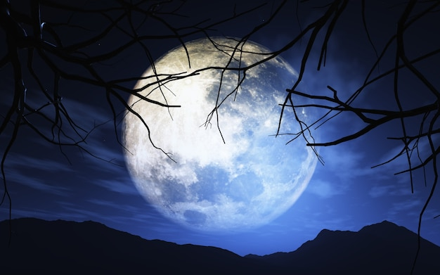 3d render van bomen tegen een maanlicht hemel