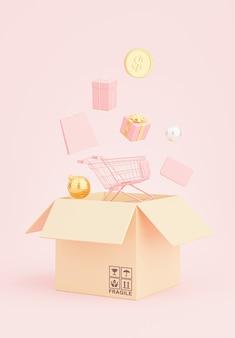3d render van cardborad doos met verzending dienstverleningsconcept