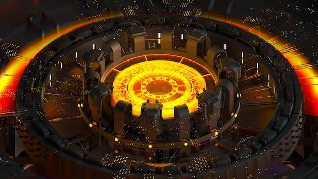 3d render van complexe computerstructuur met gloeiend element in het midden ervan. kunstmatige intelligentie centrum concept. cpu-structuur.