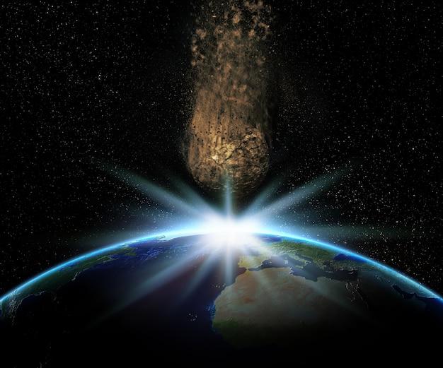 3d render van de aarde met een enorme asteroïde denderen naar toe