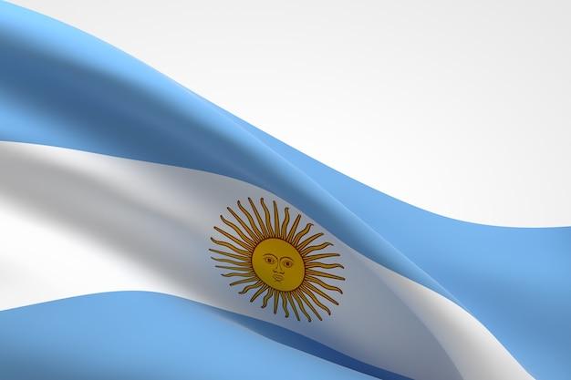 3d render van de argentijnse vlag zwaaien.