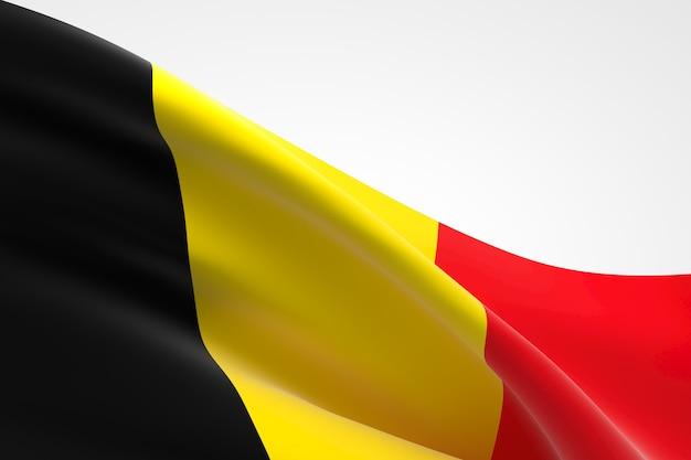 3d render van de belgische vlag zwaaien.