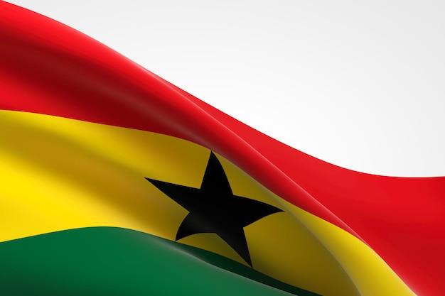 3d render van de ghanese vlag zwaaien.