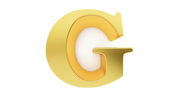 3d render van de letter g in goud metaal geïsoleerd op een witte muur.