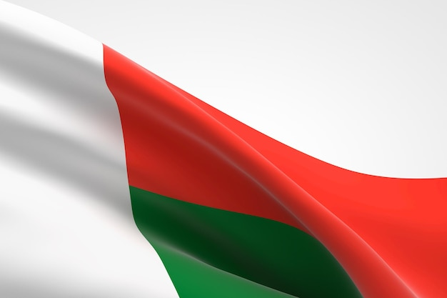 3d render van de malagasi vlag zwaaien.