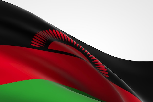 3d render van de malawische vlag zwaaien.
